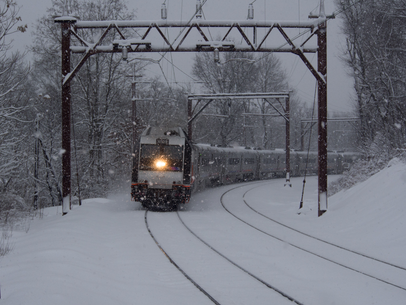 Photo of NJT train in snow